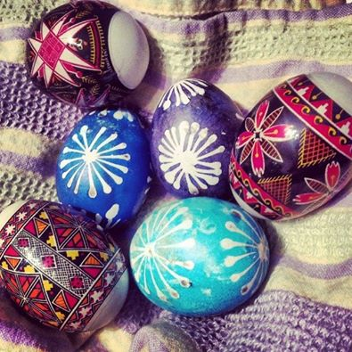 This year's pysanky! MomFOD decorated a few traditionally in the two colors, and then skipped a few days worth of work and shrink wrapped the rest.